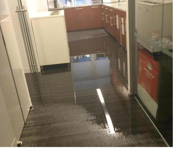 kitchen floor with water on it